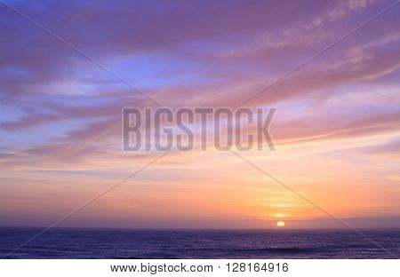 Sunset sky at Pancake Rock Coastal line at Punakaiki New Zeland