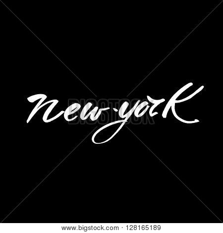 New York city  lettering design template. New York inscription. Handwritten quote. Vector illustration.