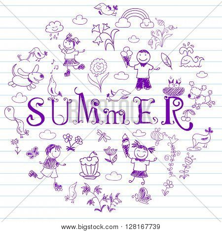 Summertime. Happy friends, playing outdoors. Collection of elements in doodle style. Vector sketch on notebook page