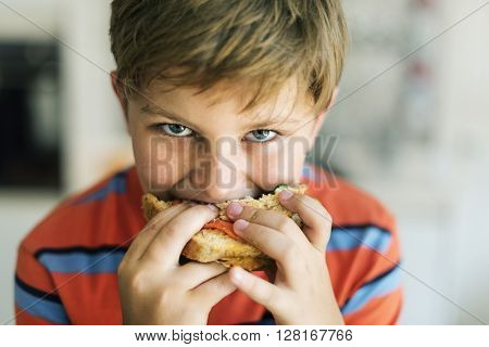 Child Children Hungry Hunger Kid Sandwich Concept