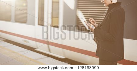 Woman Waiting Subway Terminal Transportation Concept