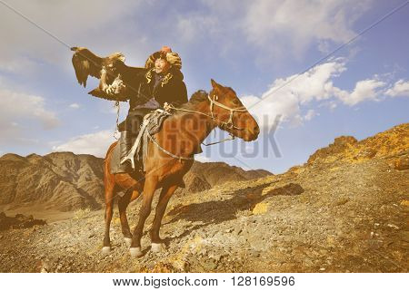 Mongolian Man with Trained Eagle Concept