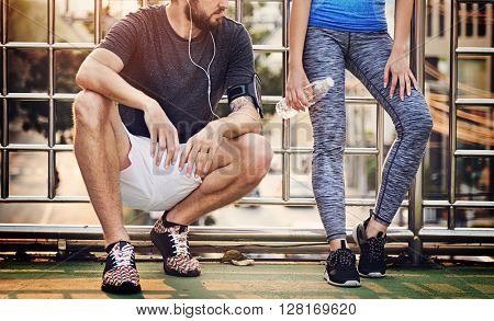 Couple Exercise Athlete Sporty Summer Together Concept