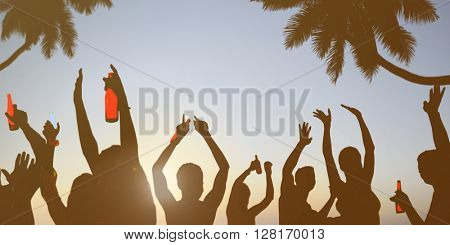 Silhouettes of Young People Celebrating, Drinking on a Beach