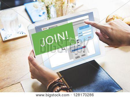 Join Apply Enter Membership Register List File Concept
