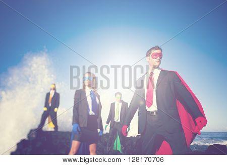 Business Superheroes Beach Concept