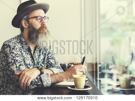 Writer Bar Counter Beard Mustache Cafe Coffee Concept