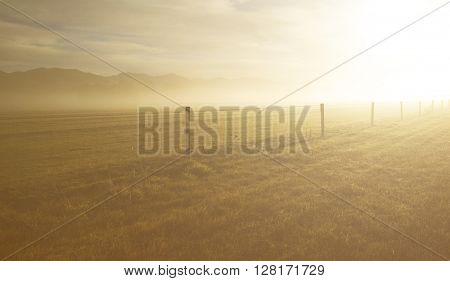Shining Fog Livestock Pasture Ranch Remote Sun Concept