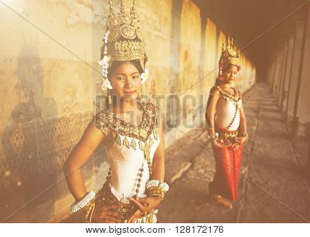 Traditional Aspara Dancers Cambodia Concept