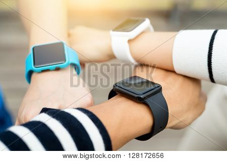 Group of people wearing with smart watch