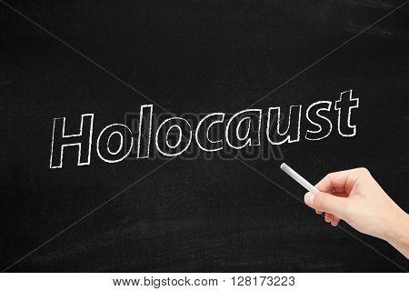 Holocaust written on a blackboard