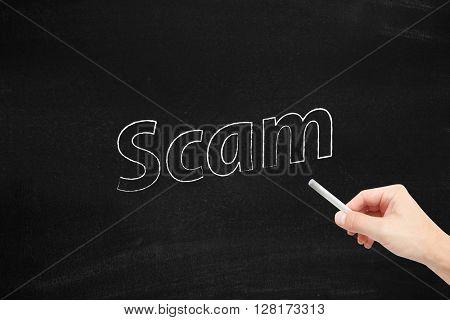 Scam written on a blackboard