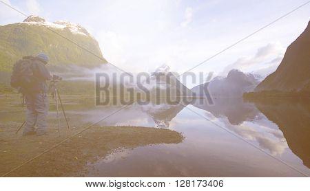 Foggy Mountain Lagoon Photograph Landscape Concept