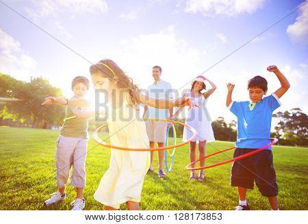 Family Spending Quality Time Park Concept