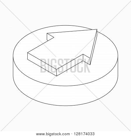 Wide classic arrow icon on round pad in isometric 3d style isolated on white background
