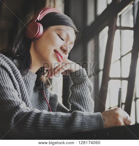 Chill Calm Audio Happiness Headphone Music Concept