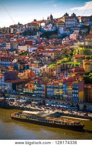 Cityscape of Porto downtown touristic Ribeira and traditional houses