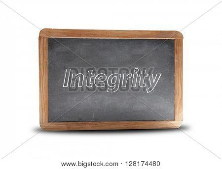 Integrity written on a blackboard