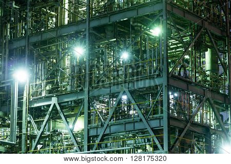 Industrial factory at night