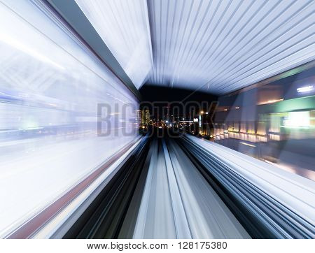 Blurred speed motion view in tunnel