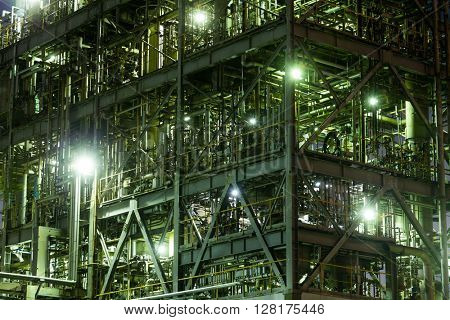 Steelworks Industrial building at night