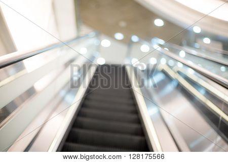 Blurry view of escalator