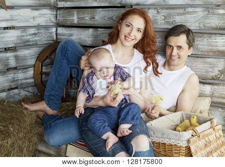 young happy father, mother and their baby ducklings and chicken in the farm house