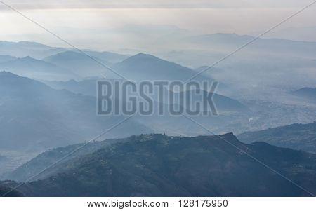 Pokhara region aerial view, Nepal