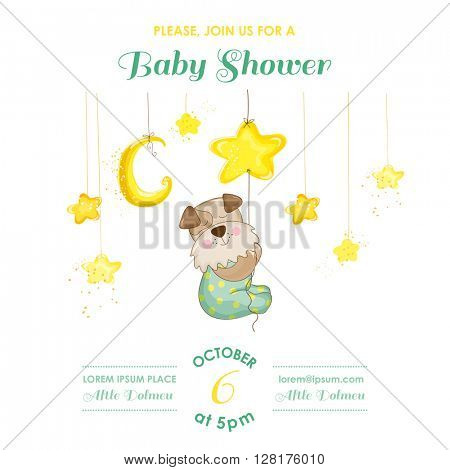 Baby Shower or Arrival Card - Baby Dog Catching Stars - in vector
