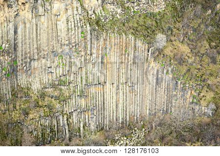 Basalt columns geological formation in Armenia