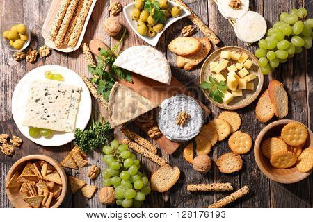assorted cheese and appetizer
