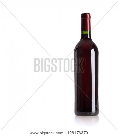 bottle of vine on  white background