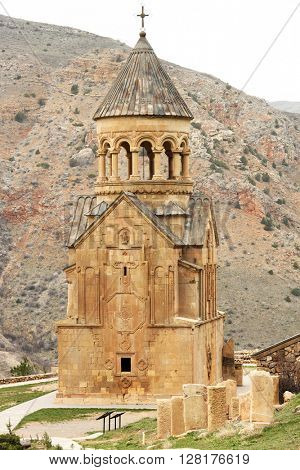 Ancient monastery Noravank in the mountains in Amaghu valley, Armenia. Was founded in 1205.