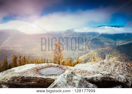 Great view of the magic valley under blue sky. Dramatic scene and picturesque picture. Location place Carpathian, Ukraine, Europe. Beauty world. Retro and vintage style. Instagram toning effect.