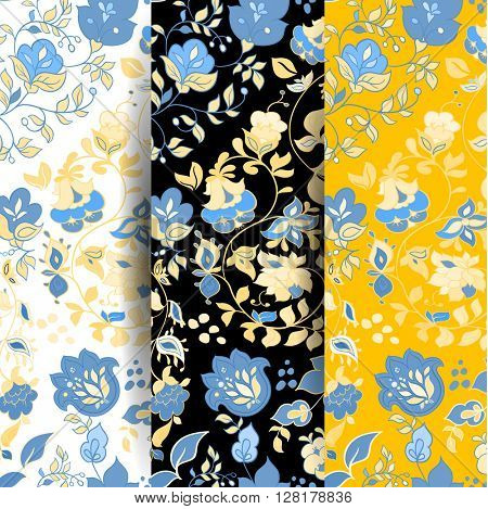 Set of Vector summer doodle seamless patterns. Floral background wallpaper. yellow seamless pattern with blue flowers.  Paisley boho seamless pattern.