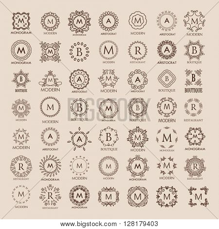 Big bunch of luxury, simple and elegant monogram design templates. Good for labels and logos. Vector illustration. Line style.  Monogram design. Vector monogram.