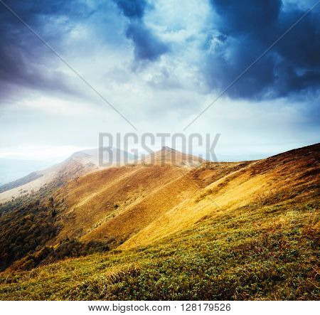 Majestic yellow hills glowing by sunlight a day. Dramatic scene and picturesque picture. Location place Carpathian, Ukraine, Europe. Beauty world. Retro and vintage style. Instagram toning effect.