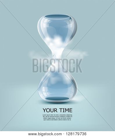 Hourglass with clouds and blue sky inside. Vector illustration.