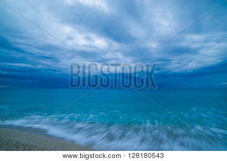 The famous Kathisma beach at dusk  in Lefkada Greece