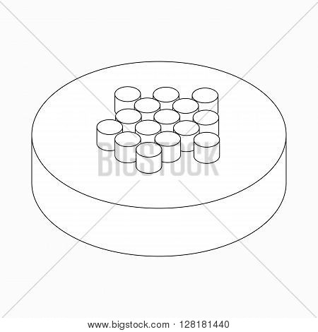 Wide classic dots arrow icon on round pad in isometric 3d style isolated on white background