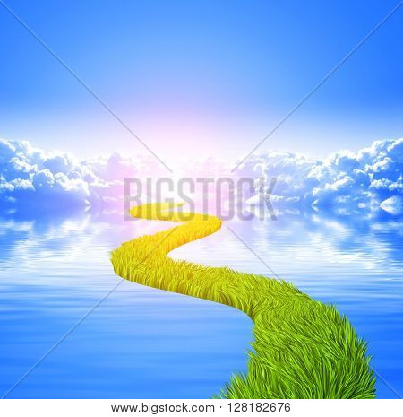 Nature background with white clouds in blue sky, tranquil water surface and road with green grass