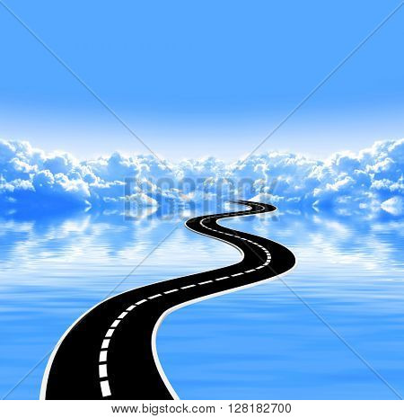 Nature background with white clouds in blue sky, tranquil water surface and road