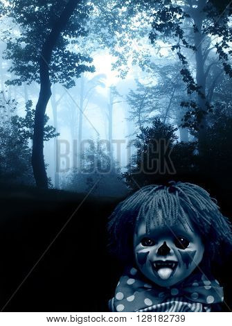 Dark series. Spooky clown in the dark foggy forest