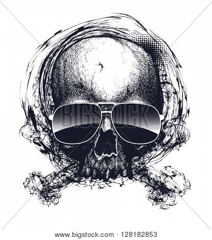Black and white human skull with sunglasses. Hand drawn. Jpeg version.