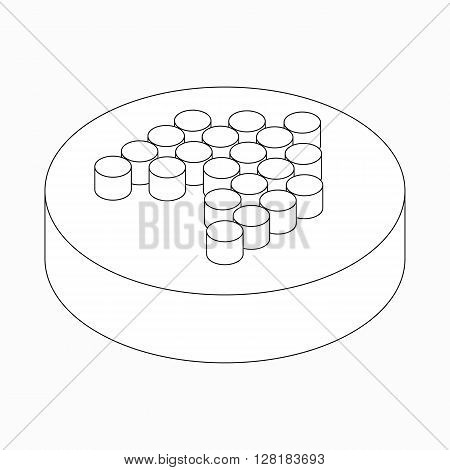 Wide modern dots arrow icon on round pad in isometric 3d style isolated on white background
