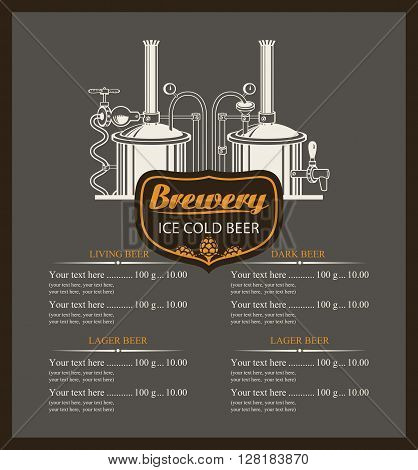 beer brewery menu list with a price