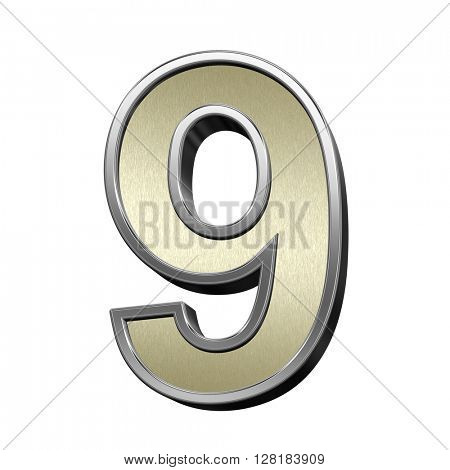 One digit from brushed gold with shiny silver frame alphabet set, isolated on white. 3D illustration.