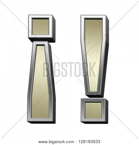 Exclamation mark from brushed gold with shiny silver frame alphabet set, isolated on white. 3D illustration.