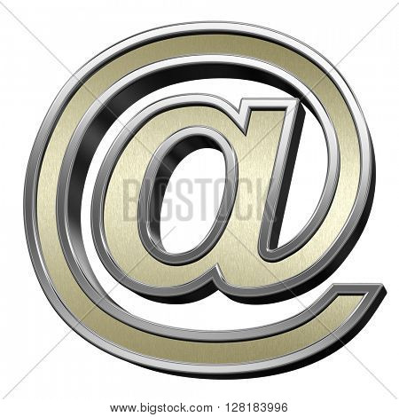 Mail sign from brushed gold with shiny silver frame alphabet set, isolated on white. 3D illustration.