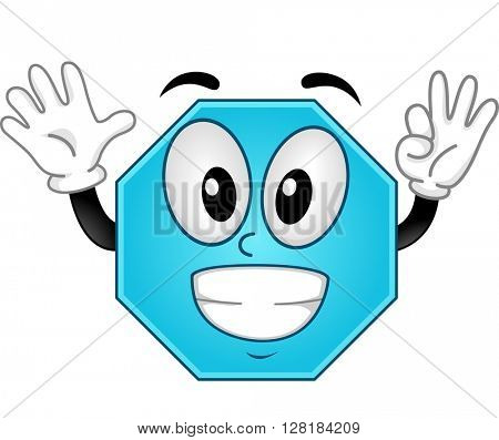 Mascot Illustration of an Octagon Showing Eight Fingers